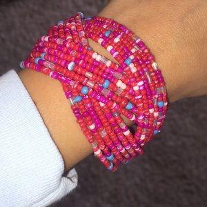 Handmade beaded Jamaican bracelet